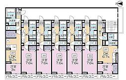 JR京浜東北・根岸線 さいたま新都心駅 徒歩10分の賃貸アパート 2階1DKの間取り