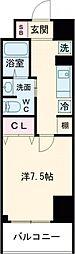 クラシエ四日市パークサイド 8階1Kの間取り