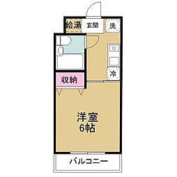 愛知環状鉄道 山口駅 徒歩1分の賃貸アパート 2階1Kの間取り