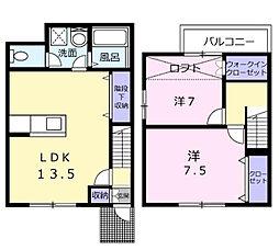 クレア東岸和田 1階2LDKの間取り
