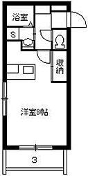 M'z鴨池II 4階ワンルームの間取り