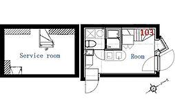 JR山手線 代々木駅 徒歩9分の賃貸マンション 1階ワンルームの間取り
