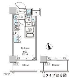 パークアクシス大塚ステーションゲートタワー 15階ワンルームの間取り