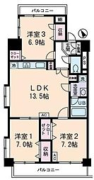 JR山手線 高田馬場駅 徒歩10分の賃貸マンション 10階3LDKの間取り