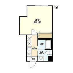 東急東横線 都立大学駅 徒歩7分の賃貸マンション 1階1Kの間取り