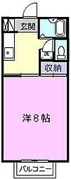 近鉄名古屋線 千里駅 徒歩15分の賃貸アパート 1階1Kの間取り
