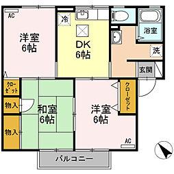 JR予讃線 宇多津駅 徒歩6分の賃貸アパート 1階3DKの間取り