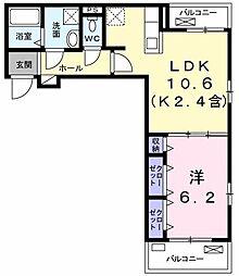 ローゼンハイムIII 2階1LDKの間取り