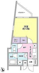 JR山手線 渋谷駅 徒歩8分の賃貸マンション 1階1Kの間取り