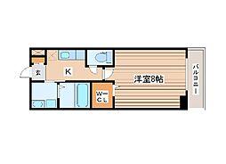 ウルス花京院A 1階1SKの間取り