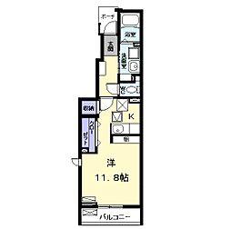 名鉄犬山線 西春駅 徒歩17分の賃貸アパート 1階1Kの間取り