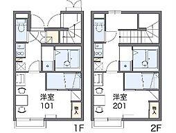 JR中央線 高尾駅 バス24分 のぼり川下車 徒歩2分の賃貸アパート 1階1Kの間取り