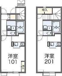 名鉄各務原線 新那加駅 バス12分 東海学院大学南下車 徒歩8分の賃貸アパート 2階1Kの間取り