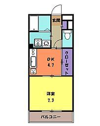 アビタシオンII 4階1DKの間取り