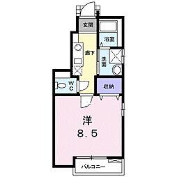 名鉄三河線 猿投駅 徒歩11分の賃貸アパート 1階1Kの間取り