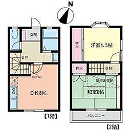 東田テラスハウスII 1階2DKの間取り