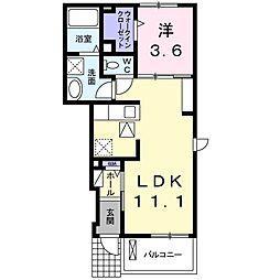 湘南新宿ライン高海 北鴻巣駅 徒歩21分の賃貸アパート 1階1LDKの間取り