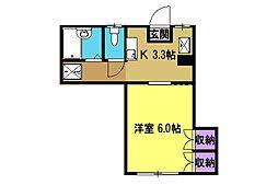 宮本コーポ 1階1Kの間取り