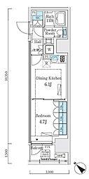 JR山手線 大崎駅 徒歩7分の賃貸マンション 9階1DKの間取り