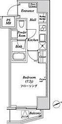 都営三田線 三田駅 徒歩7分の賃貸マンション 10階1Kの間取り