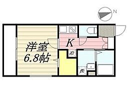 都営三田線 白金高輪駅 徒歩9分の賃貸マンション 2階1Kの間取り
