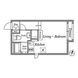 LAPiS南麻布II(2021.1.31管理終了) 1階ワンルームの間取り