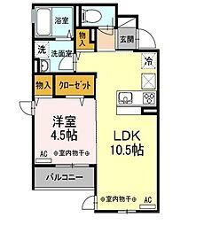 京王線 仙川駅 バス8分 杏林大学病院前下車 徒歩3分の賃貸アパート 1階1LDKの間取り