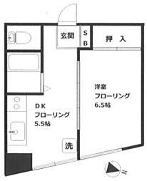 JR山手線 高田馬場駅 徒歩13分の賃貸マンション 5階1Kの間取り