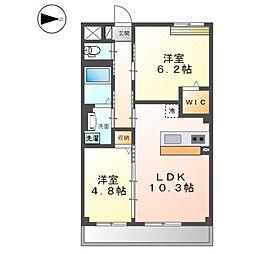 阪急京都本線 西山天王山駅 徒歩17分の賃貸マンション 3階2LDKの間取り