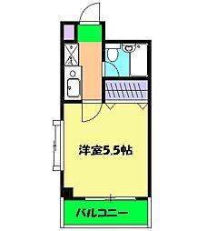 リバーサイドKUJI 2階ワンルームの間取り