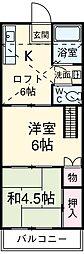 JR中央線 西国分寺駅 徒歩9分の賃貸アパート 1階2DKの間取り