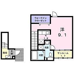 東武伊勢崎線 太田駅 徒歩20分の賃貸アパート 2階1Kの間取り