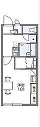 上毛電気鉄道 西桐生駅 徒歩11分の賃貸アパート 1階1Kの間取り