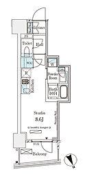 東京メトロ半蔵門線 表参道駅 徒歩12分の賃貸マンション 8階ワンルームの間取り