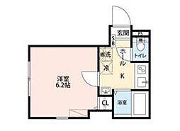 東武伊勢崎線 竹ノ塚駅 徒歩6分の賃貸マンション 1階1Kの間取り