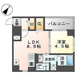 西鉄天神大牟田線 西鉄平尾駅 徒歩4分の賃貸マンション 3階1LDKの間取り