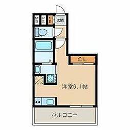 福岡市地下鉄空港線 大濠公園駅 徒歩4分の賃貸マンション 2階ワンルームの間取り