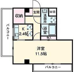 JR中央線 武蔵小金井駅 徒歩3分の賃貸マンション 6階1Kの間取り