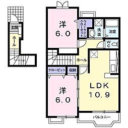 JR湖西線 安曇川駅 徒歩12分の賃貸アパート 2階2LDKの間取り