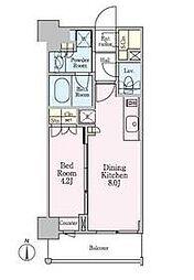 東京メトロ南北線 白金高輪駅 徒歩5分の賃貸マンション 9階1DKの間取り