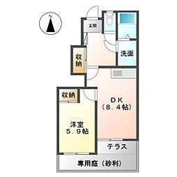 名鉄犬山線 西春駅 徒歩27分の賃貸アパート 1階1DKの間取り