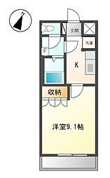 名鉄広見線 西可児駅 徒歩3分の賃貸アパート 2階1Kの間取り