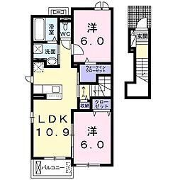 秩父鉄道 行田市駅 徒歩22分の賃貸アパート 2階2LDKの間取り