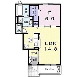 豊橋鉄道東田本線 井原駅 徒歩19分の賃貸アパート 1階1LDKの間取り