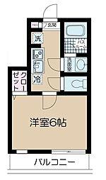 京王井の頭線 神泉駅 徒歩7分の賃貸マンション 2階1Kの間取り