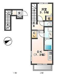 京王線 武蔵野台駅 徒歩6分の賃貸アパート 2階1DKの間取り