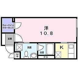 東急目黒線 西小山駅 徒歩6分の賃貸マンション 3階1Kの間取り