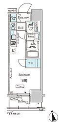 東京メトロ東西線 門前仲町駅 徒歩5分の賃貸マンション 11階ワンルームの間取り