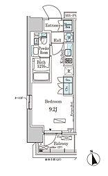 東京メトロ東西線 門前仲町駅 徒歩5分の賃貸マンション 7階ワンルームの間取り