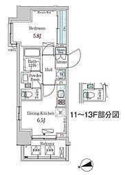 東京メトロ東西線 門前仲町駅 徒歩5分の賃貸マンション 7階1DKの間取り